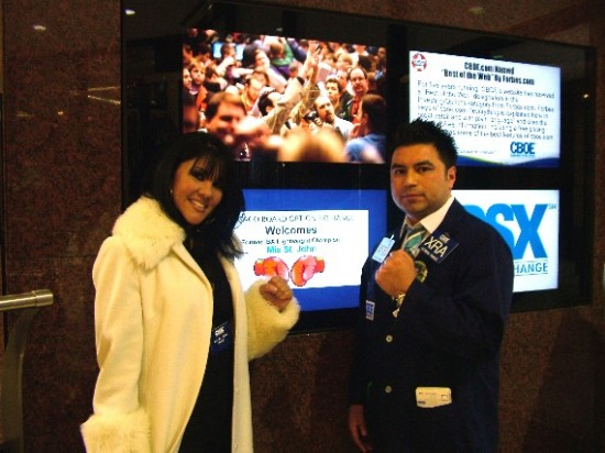 Mia St John, at left, with gym owner and commodities index trader, Rick Ramos, at the Chicago Board Options Exchange several years ago (photo courtesy of Rick Ramos)