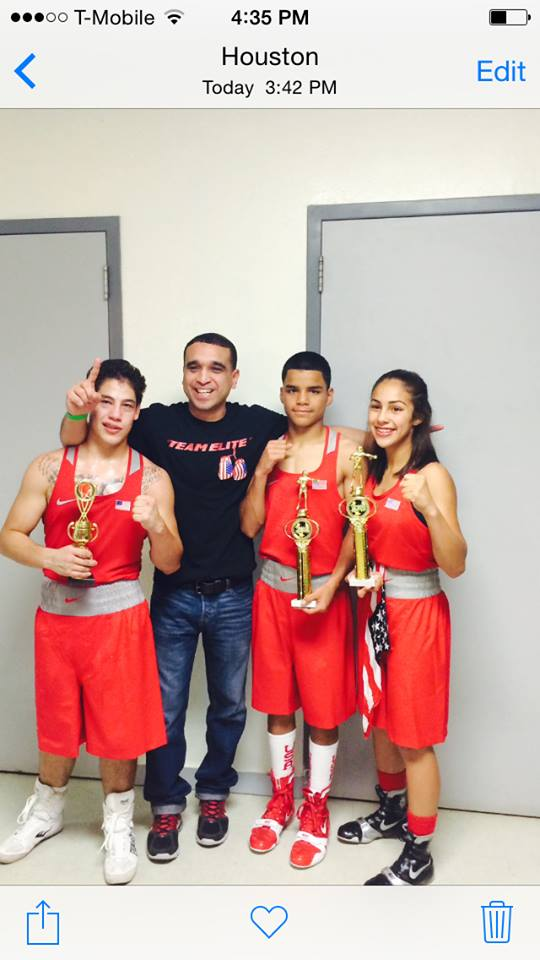 From left to right: Jesse Garcia, Coach Rudy Silva, Rogelio Ortega and Romalin Martinez of the Elite Boxing Club