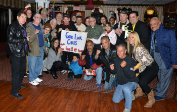 """(The sign reads:  Good luck Chris from your Ring 8 NY family""""  - Picture by Stanley Janousek)"""
