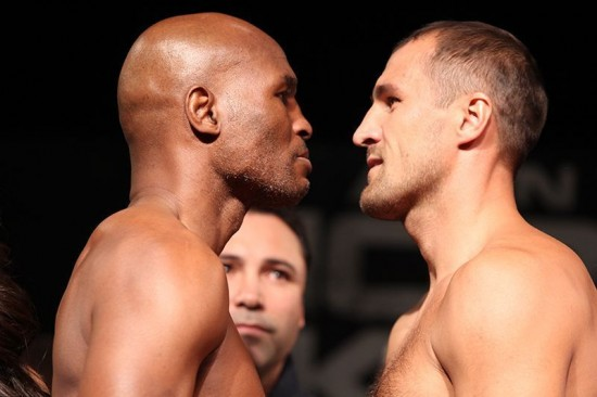 Hopkins, at left, and Kovalev square off for tonight's fights (photo courtesy of Hogan Photos-Golden Boy Promotions)
