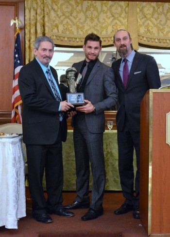 Ring 8 president Bob Duffy, Ring 8 2014 Fighter of the Year Chris Algieri and Master of Ceremonies David Diamante - Photo by Stanley Janousek)