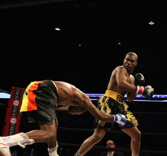 Williams batters the awkward Gbenga.