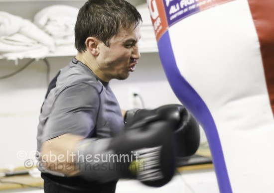 Gennady Golovkin, shown here hitting the bag, trained hard through Christmas break (photo courtesy of Abel Sanchez-K2 Promotions).