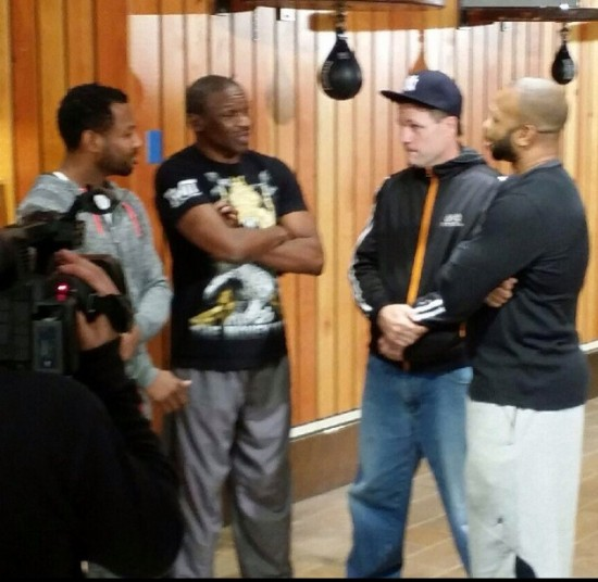 Left to right:  Sugar Shane Mosley, Mike McCallum, John Scully and Roy Jones Jr. on the set of a fight show recently.