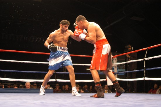 Gravonski, in previous action, at left (photo by Mike Blair)
