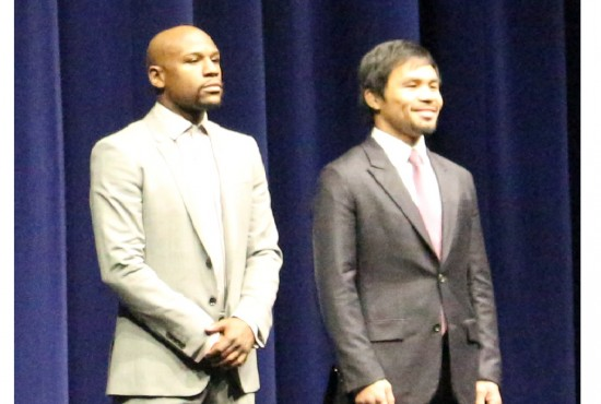 Floyd Mayweather and Manny Pacquiao stand side by side for the first time.