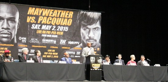 Mayweather addresses the crowd.