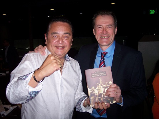 Dan Hanley, at right, with Gene Aguilera, who received an award for his book.