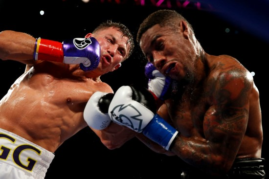 Gennady Golovkin, at left, punishes Willie Monroe Jr. (photo courtesy of Will Hart and www.insidehboboxing.com)