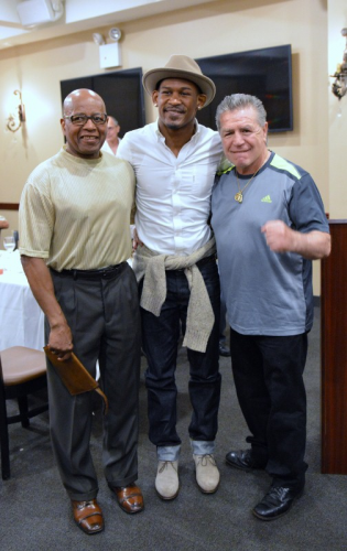 (L-R) - 2015 New York State Boxing Hall of Fame inductee Harold Weston and WBA middleweight champion Daniel Jacobs were guest speakers at last night's Ring 8 monthly meeting.  Former world middleweight champion Vito Antuofermo is to the far right. - Photo by Stanley Janousek