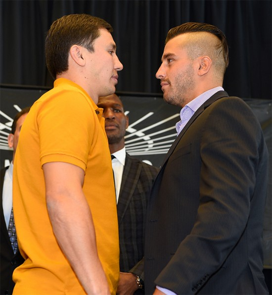 Gennady 'GGG' Golovkin, at left, engages in a stair down with David Lemieux.