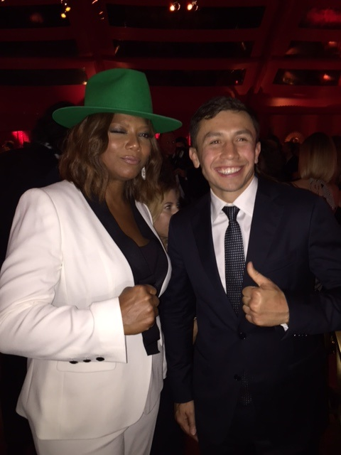 Gennady Golovkin, at right, with Queen Latifah.