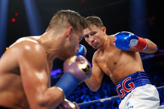Golovkin, at right, stalks Lemieux (photo by Will Hart/HBO Boxing)