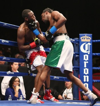 Falowo Lands a Hard Uppercut on Lamour in their first pro tussle -Photo Credits: David Spagnolo/ Main Events