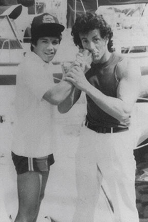 Joey Ruiz, at left, with Sylvester Stallone.