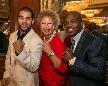 (L-R) -- 2015 Ring 8 Award Winners: New York Fighter of the Year Sadam Ali, Woman of the Decade Melvina Lathan and Fighter of the Year Timothy Bradley -Photo by Peter Frutkoff