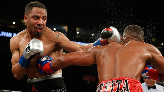 Ward, at left, and Barrera mix it up (photo courtesy of HBO Boxing)