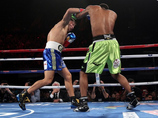 Golovkin, at left, leaves no doubt as he mounts an all-out assault on Wade (photo by Chris Farina-K2 Promotions)