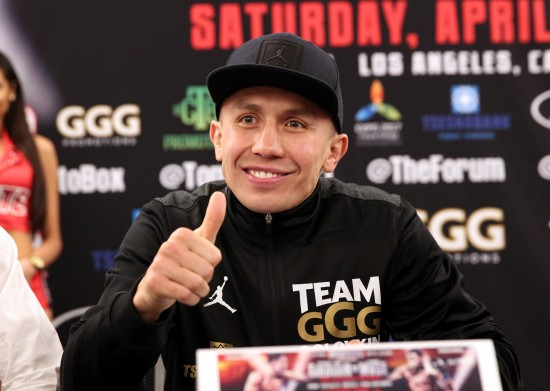 Middleweight champion Gennady Golovkin gives his thumbs up to the crowd (photo by Chris Farina/K2 Promotions)