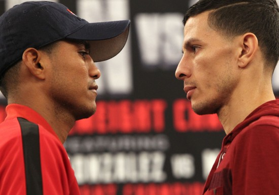 'Chocolito' Gonzalez, at left, and Arroyo face off (photo by Chris Farina/K2 Promotions)