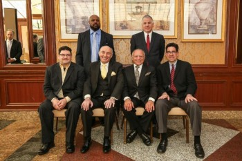 NYSBHOF Class of 2016 (L-R):  Seated - Vilomar Fernandez, Dennis Rappaport, Randy Gordon and Ed Brophy; Standing:  Aaron Davis and Joe DeGuardia  - Photo by Peter Frutkoff