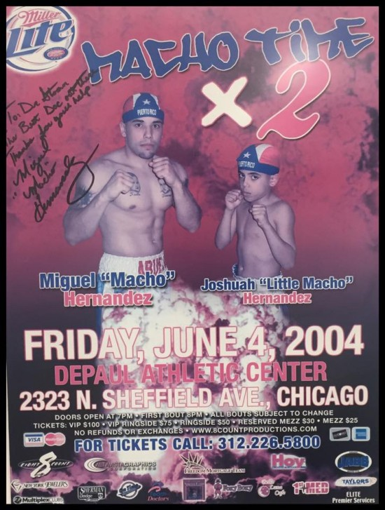"A photo of a fight poster featuring ""Macho"" Miguel Hernandez and a very young Joshua Hernandez (photo courtesy of Dr. Stoxen)."