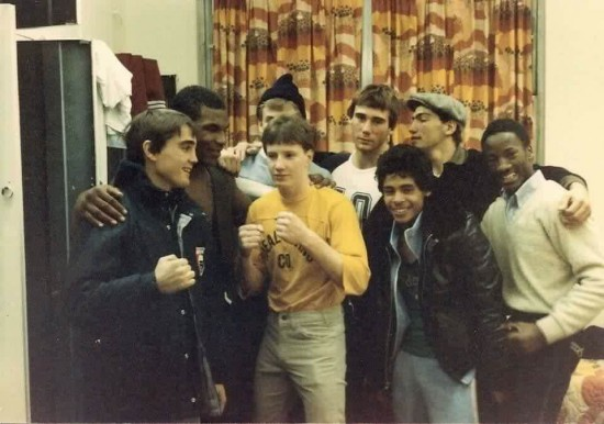 Left to Right:  David Gauvin, Mike Tyson, John Hersey (in the back, partially blocked), Micky Ward, Marty Foley, Joey Negron, Mike Dampolo and Ray Doughty