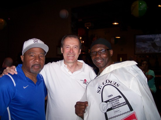 The author (center) with two former Golden Glove champs Brian Matthews (left) and Bernard Hightower.