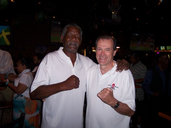 The author with the only man to knock out Mike Tyson as an amateur, Al 'Chico' Evans, at left.