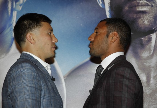 Golovkin, at left, and Brooks stare into each others eyes for the cameras.