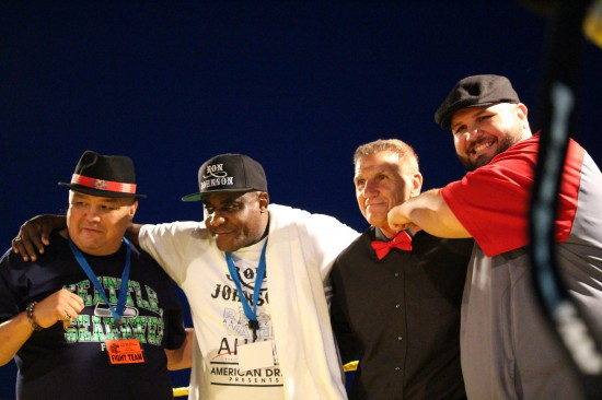 Left to right:  Joe Hipp, Mike McCallum, Russ Hansen, Chauncy Welliver after the fights.