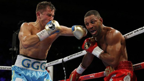 Gennady Golovkin, at left, slams a left hook to the jaw of Kell Brooks (photo by Matchroom Boxing).