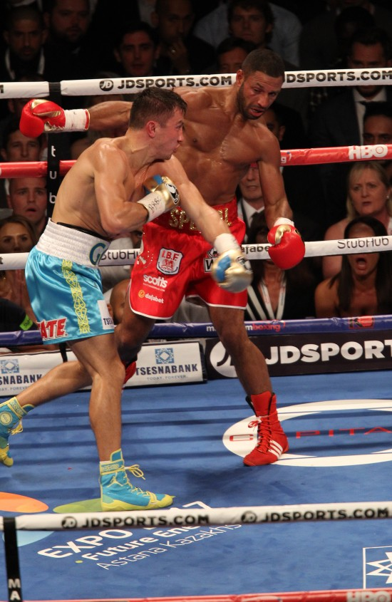 Gennady Golovkin, seen here at left versus Kell Brook (photo by Lawrence Lustig)