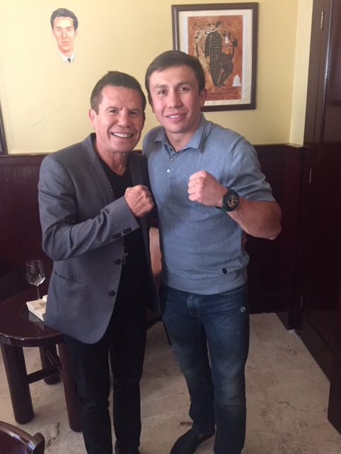 Golovkin, at right, with Julio Cesar Chavez, Sr.