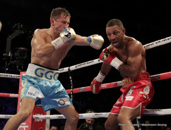 Gennady Golovkin, at left, savages Kell Brooks.