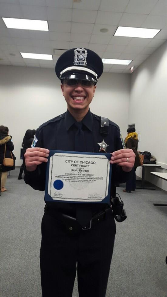 David Estrada proudly displays his certification from the Chicago Police Academy (photo courtesy of David Estrada).