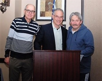 (L-R) - New Ring 8 president Jack Hirsch, guest speaker Steve Farhood and outgoing Ring 8 president Bob Duffy - (Photo courtesy of Stanley Janousek)