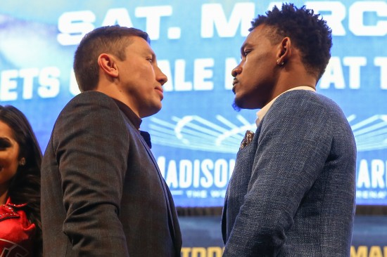 Daniel Jacobs at right at a presser with Gennady Golovkin (photo by Ed Mulholland/K2 Promotions)