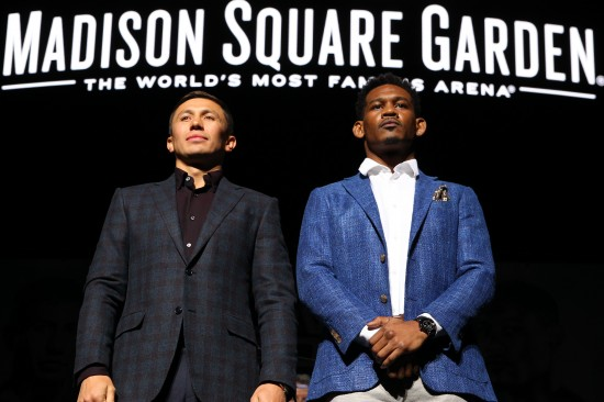 Gennady Golovkin, at left, with Daniel Jacobs (photo by Ed Mulholland/K2 Promotions)