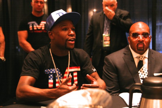"""Floyd Mayweather Jr. says at a presser before his second bout against Maidana that people criticized him for not fighting against greats like them, but the era he fought was out of his control, adding, """"Why should I be criticized for dominating my era?"""" (photo and text by Juan C. Ayllon)"""