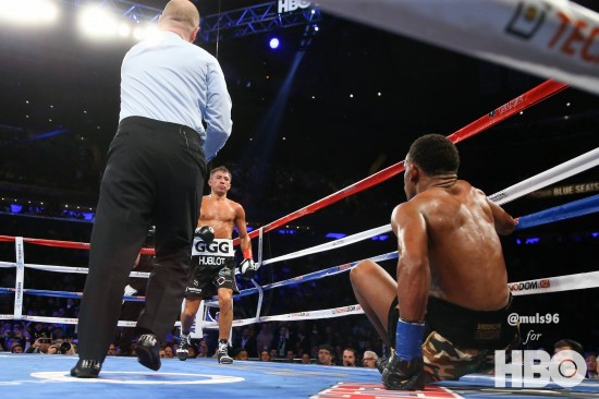 Golovkin drops Jacobs (photo by Ed Mulholland/HBO)