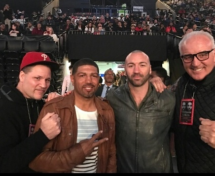 Left to right: 'Iceman' John Scully, former 154 pound champ Winky Wright, world ranked light heavyweight contender Seanie Monaghan and Gentleman Gerry Cooney take in the Thurman-Garcia fight on Saturday.