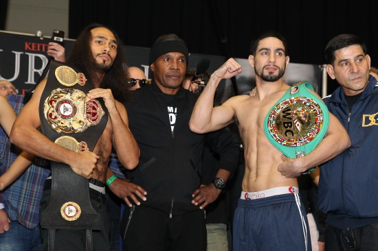 Left to right: Keith Thurman, Sugar Ray Leonard, and Danny Garcia