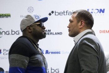 (L-R) - Kevin Johnson & Kubrat Pulev from today's final press conference -(Photo by LAP Images)